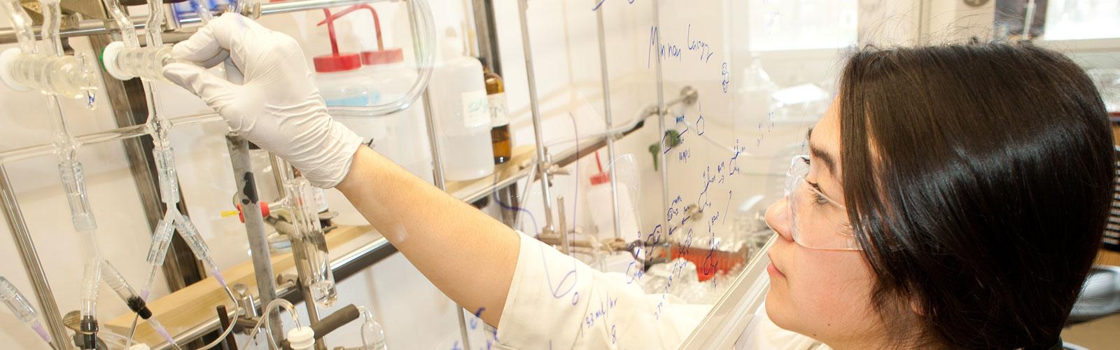 woman examining test tubes