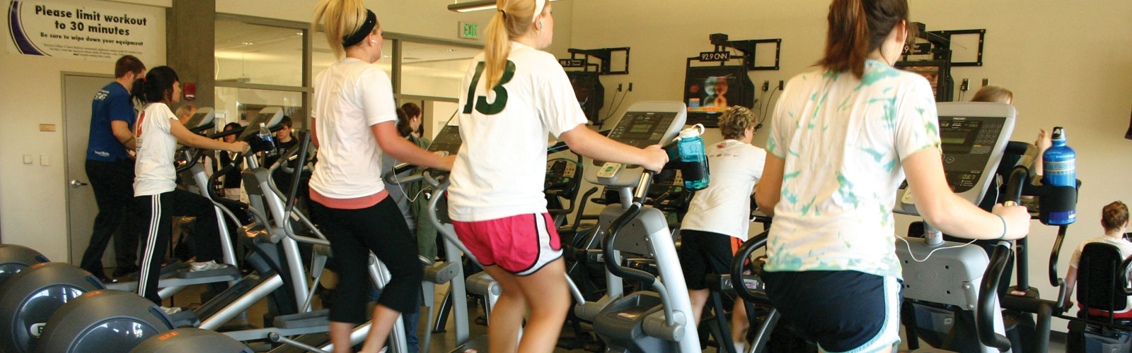 3 students on treadmills
