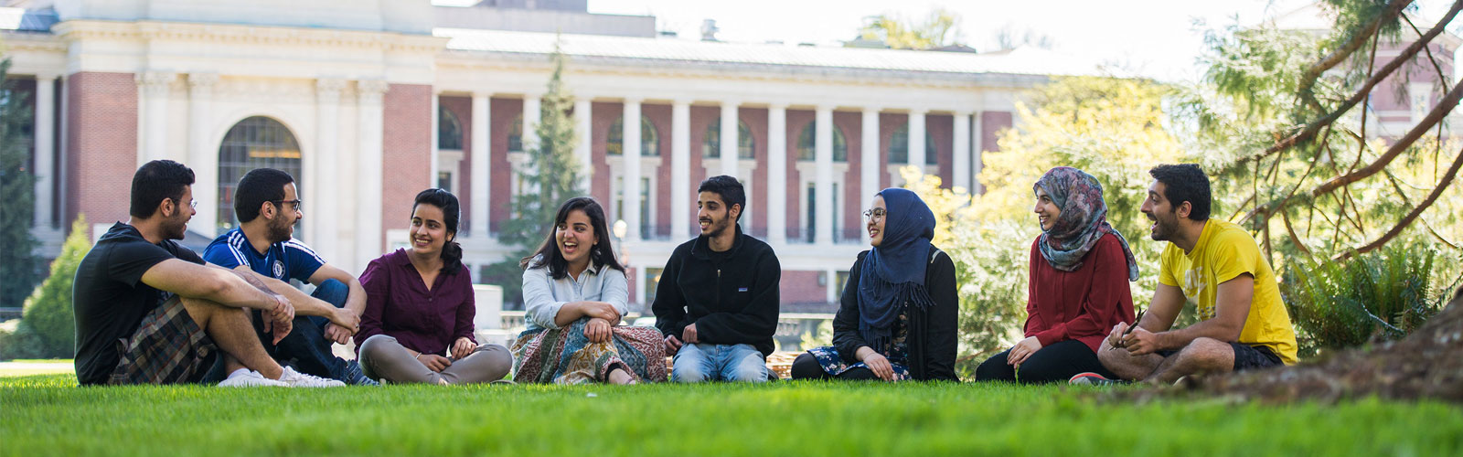group of students sitting and talking on lawn